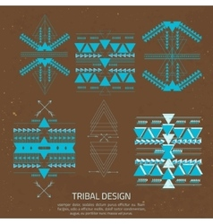 Tribal elements ethnic collection in aztec vector image vector image