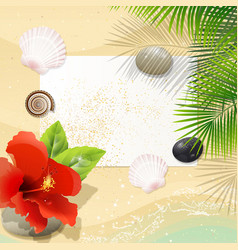 tropical beach with red hibiscus vector image vector image