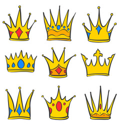 various crown elegant style set collection vector image vector image
