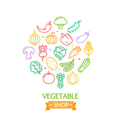 Vegetables food shop color round design template vector