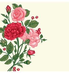 Vintage background with a bouquet of roses vector
