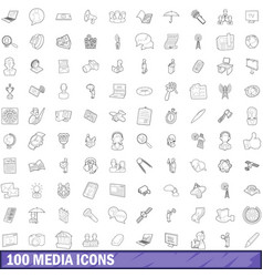 100 media icons set outline style vector image