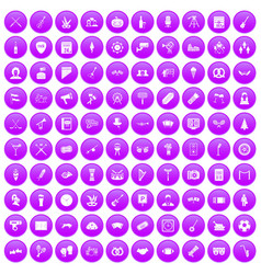 100 meeting icons set purple vector