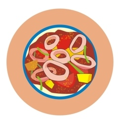Sambal squid rings vector