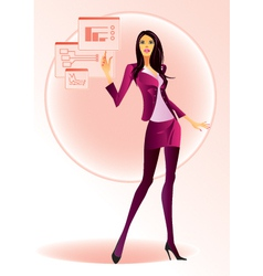 Fashion girl running on virtual display vector