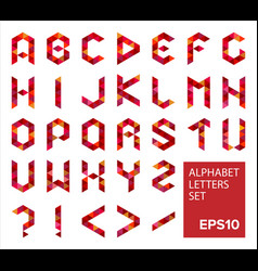 Alphabet letters set in modern polygonal style vector