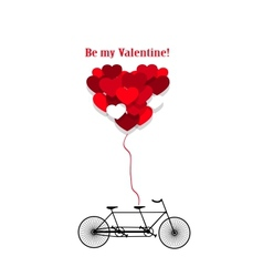 Romantic bicycle heart background vector