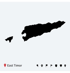 High detailed map of east timor with navigation vector