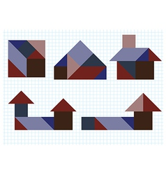 Tangram puzzle house vector image