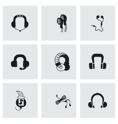 Headphone icon set vector