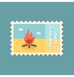 Bonfire flat stamp vector