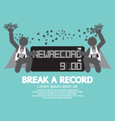 The athletes with break a record banner ill vector