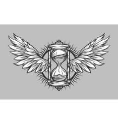 Hourglass and wings vintage vector