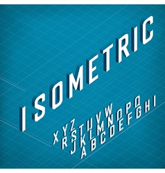 Isometric alphabet on blueprint abstract vector