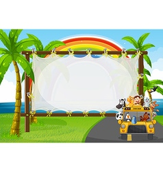 Frame design with animals on zoo bus vector