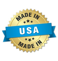 Made in usa gold badge with blue ribbon vector