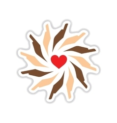 Paper sticker on white background hands heart vector