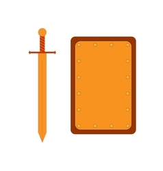 Set of sign shield rectangle and sword gold 2907 vector
