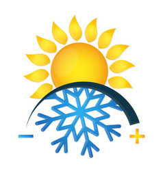 air conditioning symbol snowflake and sun vector image vector image