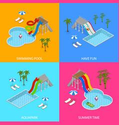 aqua park concept banner card set isometric view vector image vector image