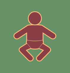 baby sign cordovan icon and vector image vector image