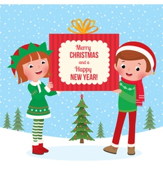 Children hold a big christmas gift vector