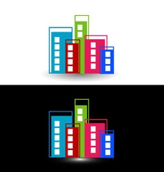 Colorful skyscrapers- logo for property business vector