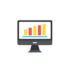computer icon in the flat style the monitor chart vector image