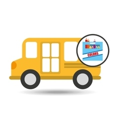 concept bus school color box desing vector image