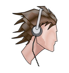 Drawing avatar head guy young headphones vector