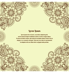 Floral henna indian mehendi background vector