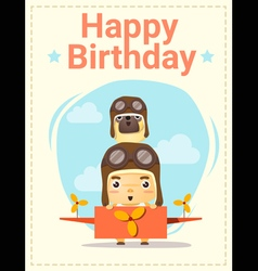 Happy birthday card with little boy and friend vector