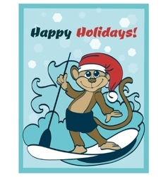 Happy surfing holidays paddleboarding vector