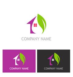 house green leaf logo vector image