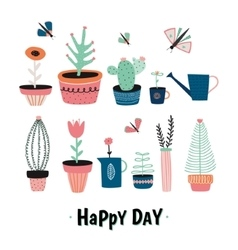 House plants in pots vector