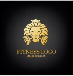 Lion sport fitness logo template vector