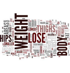 Lose weight in hips and thighs bust the fat text vector