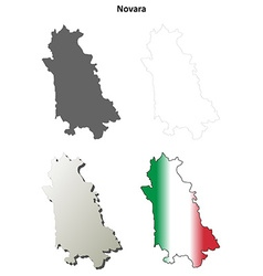 Novara blank detailed outline map set vector image