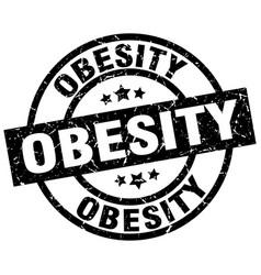 Obesity round grunge black stamp vector