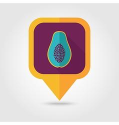 Papaya flat pin map icon Tropical fruit vector image vector image