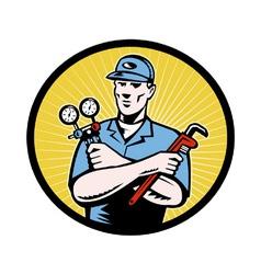 Retro repairman icon vector