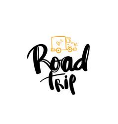 Road trip lettering handwritten calligraphy vector
