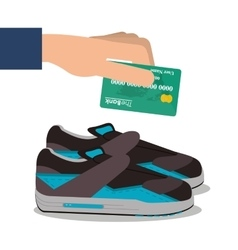 Running shoes payment and shopping design vector