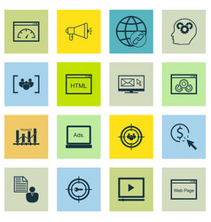Set of 16 seo icons includes questionnaire vector