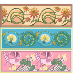 Set of art nouveau borders vector