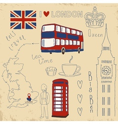 set of London symbols on vintage vector image