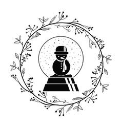 Snowman of christmas season design vector