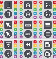 Tablet pc camera sms cursor keyboard apps monitor vector