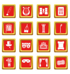 Theater icons set red vector