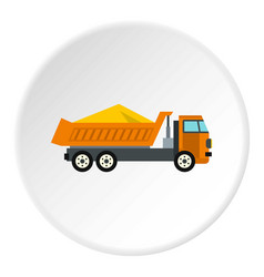 Truck with sand icon circle vector